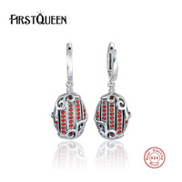 FirstQueen 925 Sterling Silver Be My Valentine Love Earrings Red CZ Femme Earrings Jewelry Brincos