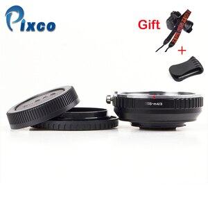 Image 1 - Pixco dla EOS M 4/3 reduktor ogniskowy wbudowany zestaw apertury do Canon mocowanie EF obiektyw do Micro 4/3 + osłona obiektywu u clip + paski do aparatu