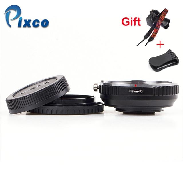 Pixco dla EOS M 4/3 reduktor ogniskowy wbudowany zestaw apertury do Canon mocowanie EF obiektyw do Micro 4/3 + osłona obiektywu u clip + paski do aparatu