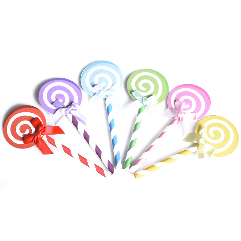6pcs Colored Cupcake Cake Topper Paper Lollipop With Straw Inserted Card Flags Lovely Gift Decoration For Wedding Birthday Party