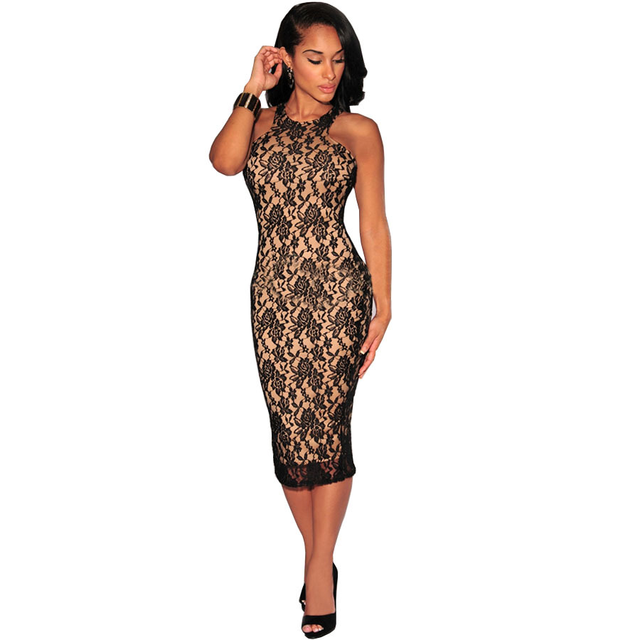 Sexy Floral Lace Dress For Women 2016 New Summer Black