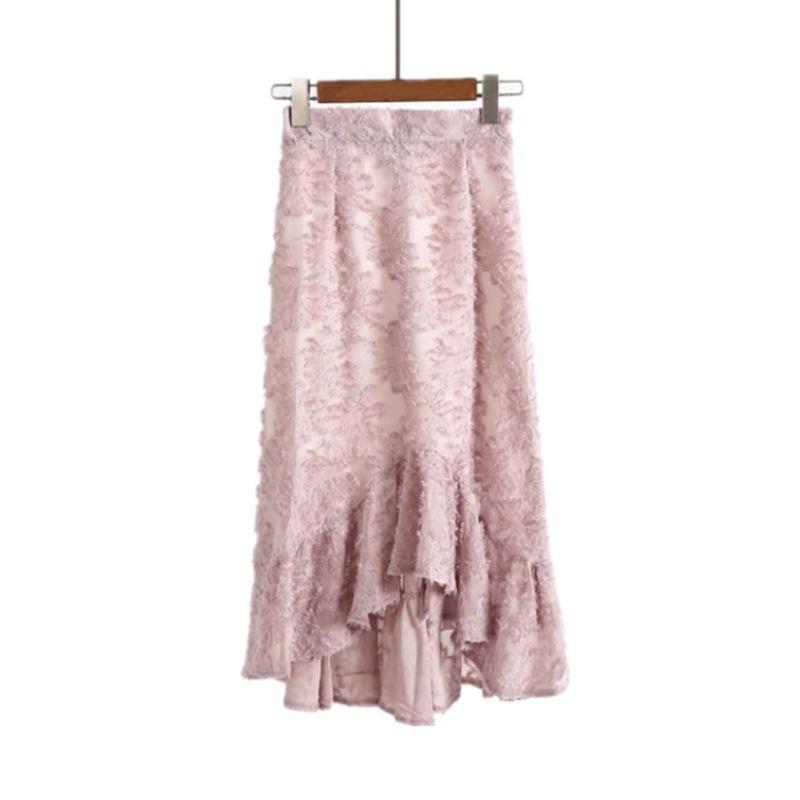 Femmes printemps jupes 2018 été nouveau taille haute pétale jupe tempérament mince en mousseline de soie peluche paquet Hip jupe trompette sirène