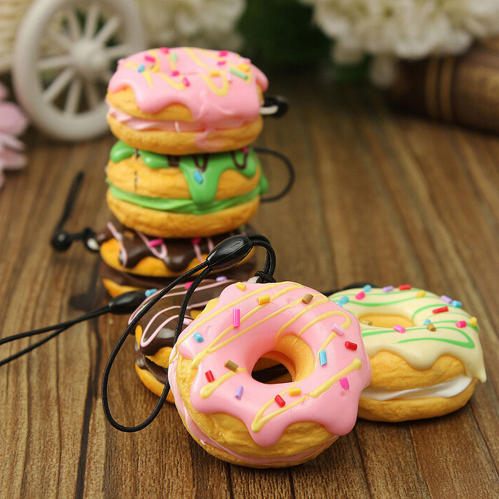 Cute Key Colorful Donuts Charms PU Cell Phone Straps Keychain Soft Kawaii Squishy Chain StrapsRandom Color Sent