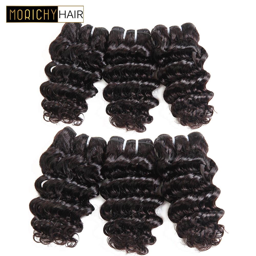 MORICHY 50g Brazilian Deep Wave Human Hair Bundles 8inch Weave Bundles Non-Remy Human Hair Extension Natural Black Color