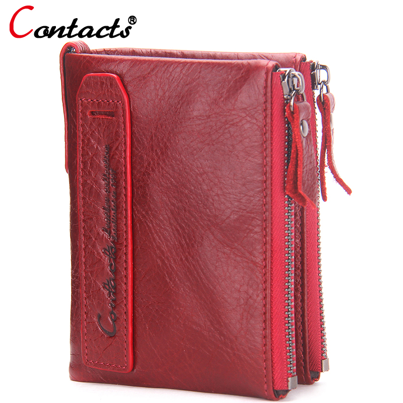 CONTACT'S women wallet Genuine Leather Men Wallet Purse Female Card Holder Small Clutch bags wallet coin Purse Money Bag Red contact s women wallet men fashion ladies short wallets genuine leather small wallet coin purse girl card holder clutch bag gift