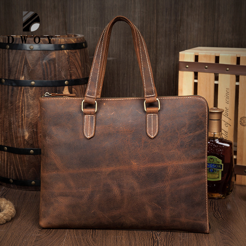 Crazy Horse Genuine Leather Men Handbag Vintage High Quality Bag Business Men Bag 13inch Laptop Briefcase Messenger Bag