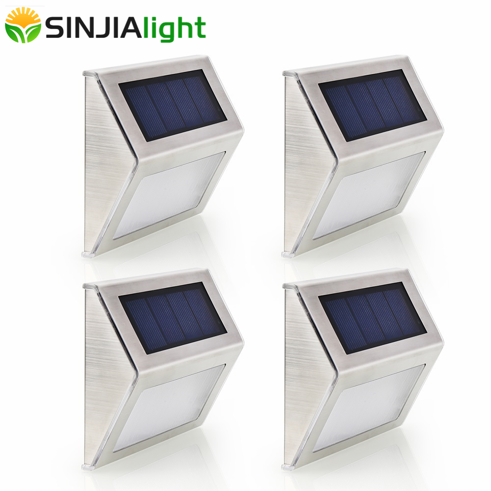 4pcs 2pcs LED Solar Lamp Waterproof IP65 Solar Lights Led Bulb Outdoor Wall Lamps Path Stairs Gutter Solar Garden Lights