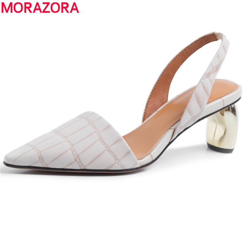 MORAZORA 2019 New high quality genuine leather women sandals back strap pointed toe high heels office