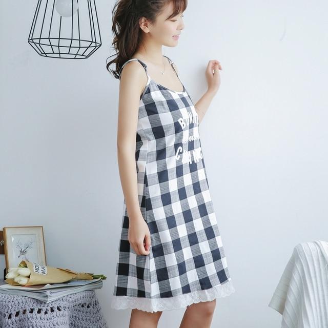 5762750445 New Summer Cotton Plaid Nightgown Women Sweet Girl Lounge Cute Nightdress  Sleepwear Casual Nightwear Gray Sleepshirts Home Dress