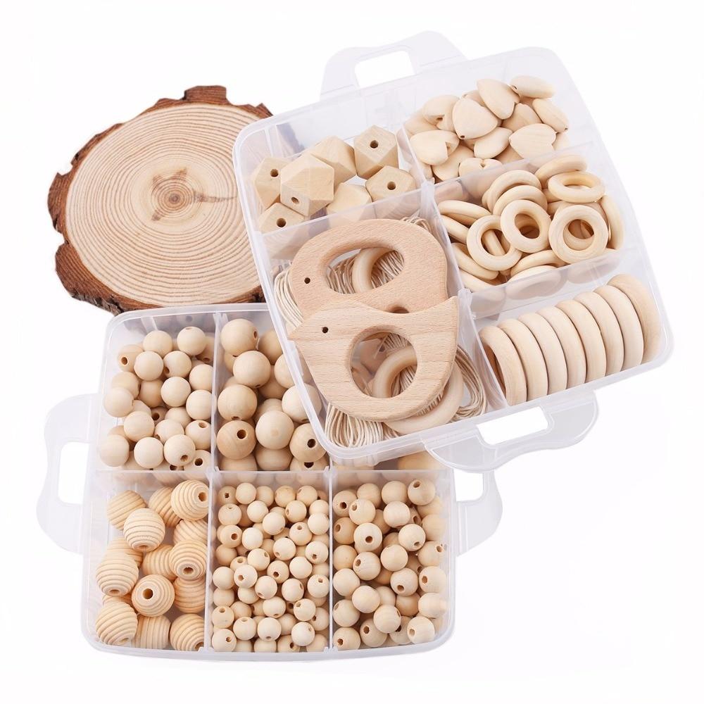 1 Set bricolage artisanat cadeaux Crochet perles perles en bois jouets de dentition fait à la main faisant collier Bracelet pendentif en bois bébé produits - 4