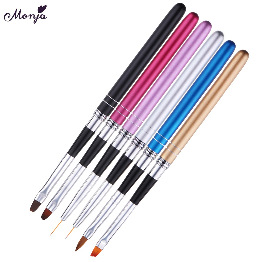 Monja Nail Art Detachable Poly UV Gel Extension Builder Acrylic Liquid Powder Brush Lines Stripe Liner Drawing Pen Manicure Tool цена