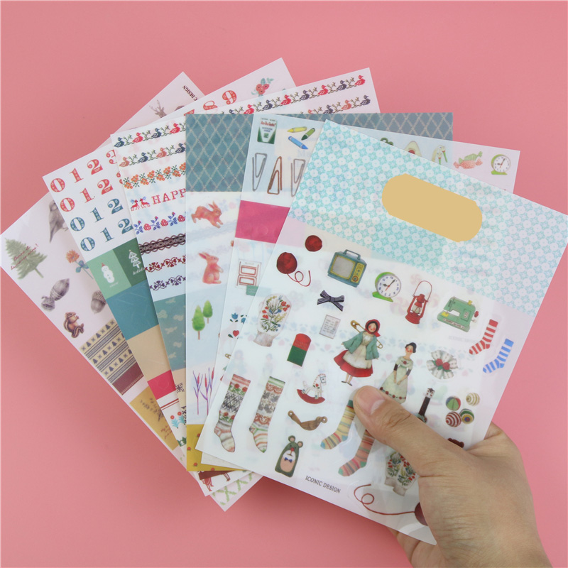 6 Pcs / Pack Direct Selling New Iconic Second Season Colorful Geometric Animal Diary Stickers