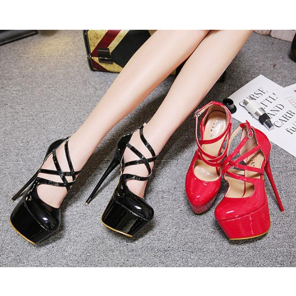 Sexy Timetang2018 Chaussure Nouvelle Escarpins Cheville Cm Size34 D'amour Noir Rond Dame Marriage Super 16 Mince Sangle Femme Talon rouge 40 Haute fête Déesse Bout rrqHwxO