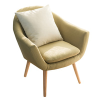 Zarif Döşemeli Kumaş Kulüp Sandalye W/Masif Ahşap Bacaklar Accent Sandalye Ev Otel hobileri Odası Için Mobilya Koltuk Çağdaş