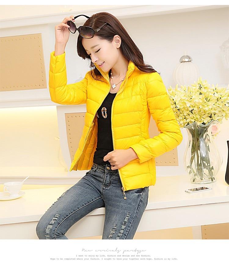 Winter 2018 ultra leichte Jacke Frauen Größe koreanische Slim gepolsterte Jacke Solid Female Parka und Jacken