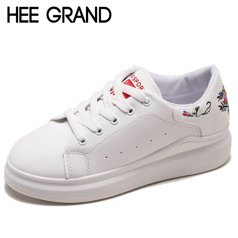 HEE GRAND Embroider Round Toe Platform Loafers Casual Flats Shoes Lace Up Woman Spring Autumn Creepers Women Flats Shoes XWD6888 стоимость