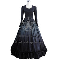 Civil War Victorian Brocaded Ball Gown Black Lolita Evening Dress Glossy Wedding Formal Dress Ruffles Frill Dark Fringes Party