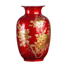 New Chinese Style Vase Jingdezhen Classical Porcelain Crystal Glaze Flower Home Decor Handmade Shining Famille Rose Vases