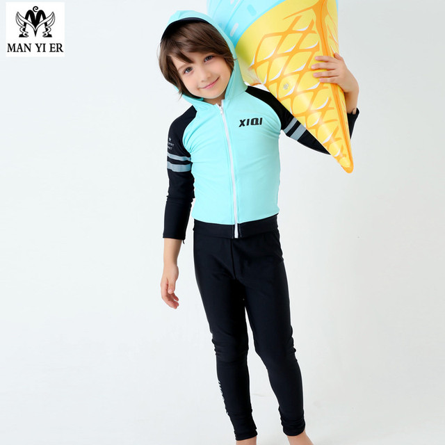 b58ef18973 2018 Hot Sell solid Boys Swimsuit Child Surf Long Sleeves shirts+pants Kids  Swimwear Bathing Suits Swim Suit