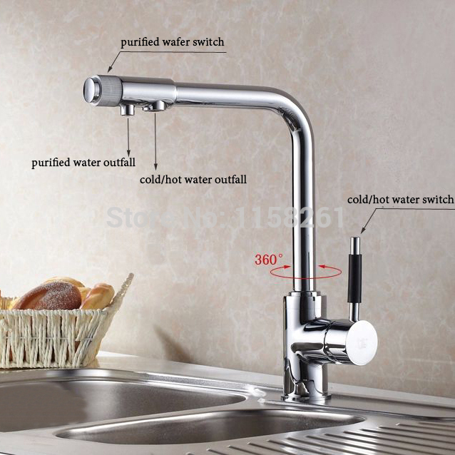 Kitchen Faucets Water Filter Taps Swivel Chrome Single Lever Crane Deck Mounted 360 Degree Rotating Tap For Kitchen HJ-0174 sognare 100% brass marble painting swivel drinking water faucet 3 way water filter purifier kitchen faucets for sinks taps d2111