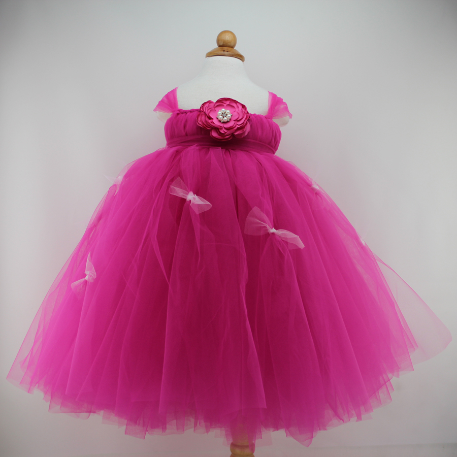 Rose Tulle 1 Year Girl Baby Birthday Dress Wedding Party ...