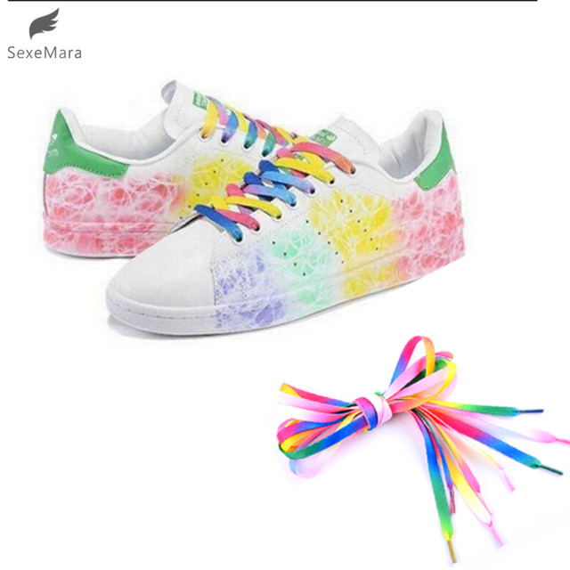 dc0c130634 US $0.66 |SexeMara 2pair 4PC Multi colors Rainbow Flat Canvas Athletic  Shoelace Sport Sneaker Shoe Laces Boots Strings-in Shoelaces from Shoes on  ...