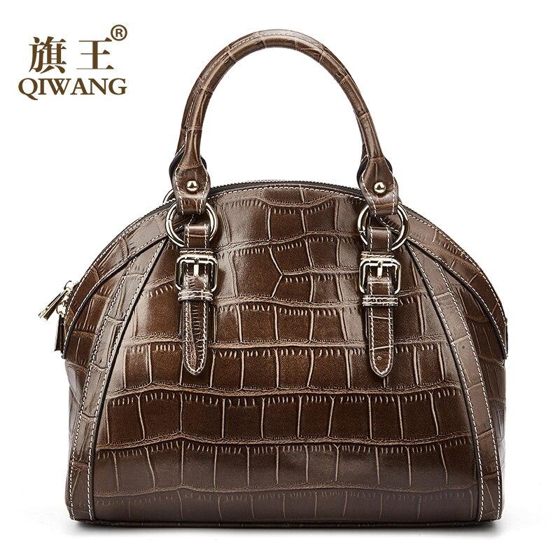 Qiwang Mulheres de Alta Qualidade do Couro Genuíno Saco Shell Bolsa De Couro de crocodilo padrão de Saco de café de excelente Qualidade Bolsas Femininas