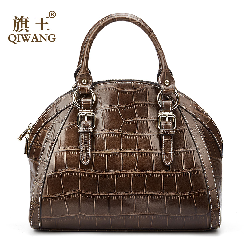 Qiwang Women High Quality Genuine Leather Bag coffee crocodile pattern Leather Tote Shell Bag excellent Quality Female Bags excellent shell home zsh999 page 2