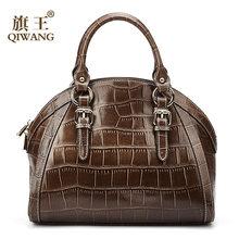 6c451871a95 Qiwang Vrouwen Hoge Kwaliteit Echt Lederen Tas koffie krokodil patroon Lederen  Tote Shell Tas uitstekende Kwaliteit