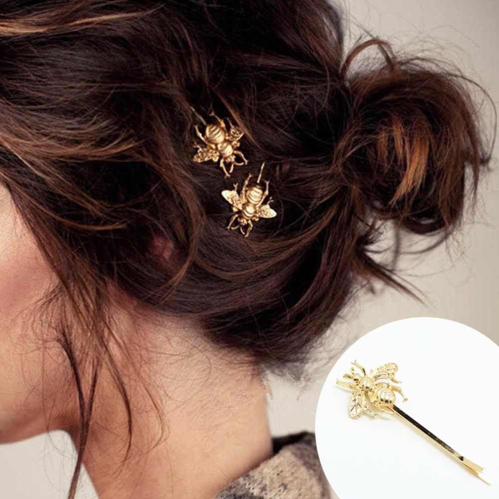 1 Pcs Rambut Klip Rambut Aksesoris Jepit Rambut untuk Wanita Jepit Rambut Emas Lucu Buram Matt Emas Lebah Jepit Rambut Hiasan Kepala