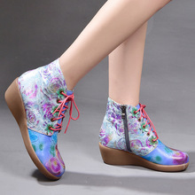 Handmade Fashion Wedge Heels Women Shoes Genuine Leather Ethnic Style Printed Round Toe Comfortable Ankle Boots Plus Size 40-42 цена