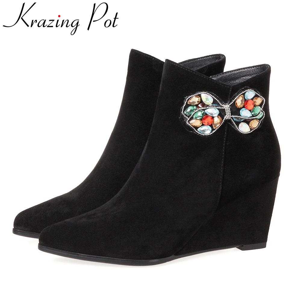 Krazing Pot superstar pointed toe crystal wedge fashion boots runway handmade zipper winter shoes slip on women ankle boots L3f2 krazing pot big szie cow suede slip on thick heel tassel bowtie winter pointed toe fashion superstar runway ankle boots l5f1