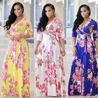 Boho Сексуальный v-образный вырез Для женщин халат платье с рукавом до локтя, Цветочный принт длинное платье женские свободные пляжные шорты ...