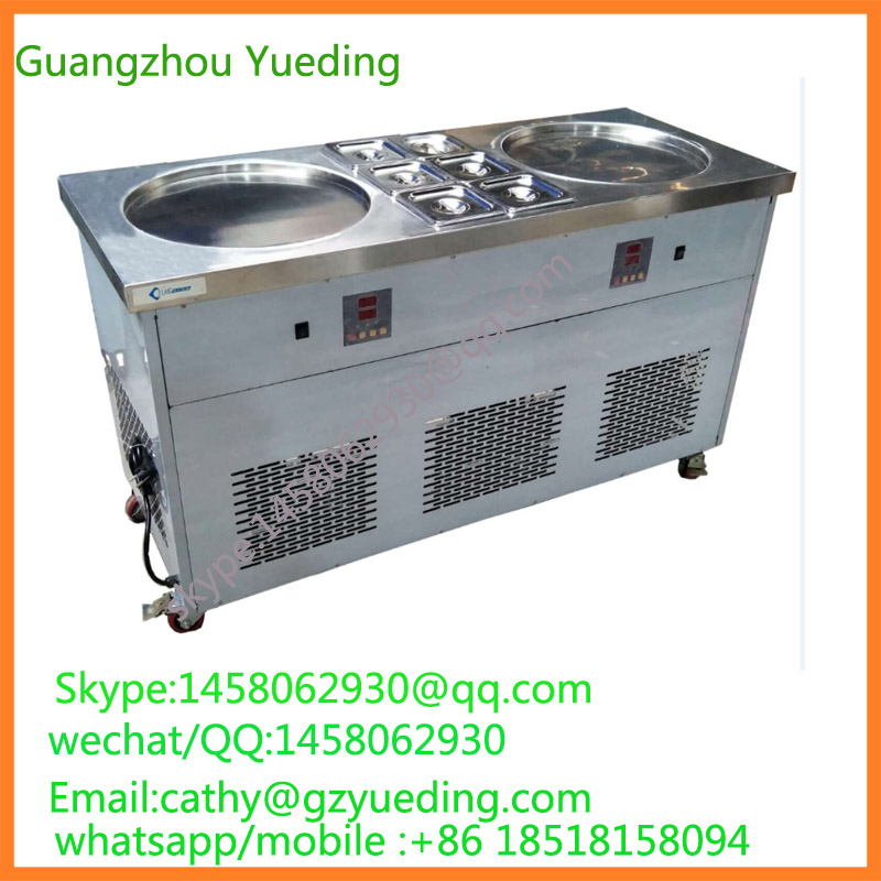 New Arrival Flat Pan Fried Ice Cream Roll Machine, CE Approved Double round Pan Thailand Fry Ice Cream Machine 2017 ce approved thai style fried ice cream roll machine single pan fry ice machine fast cooling ice pan machine with dust cover