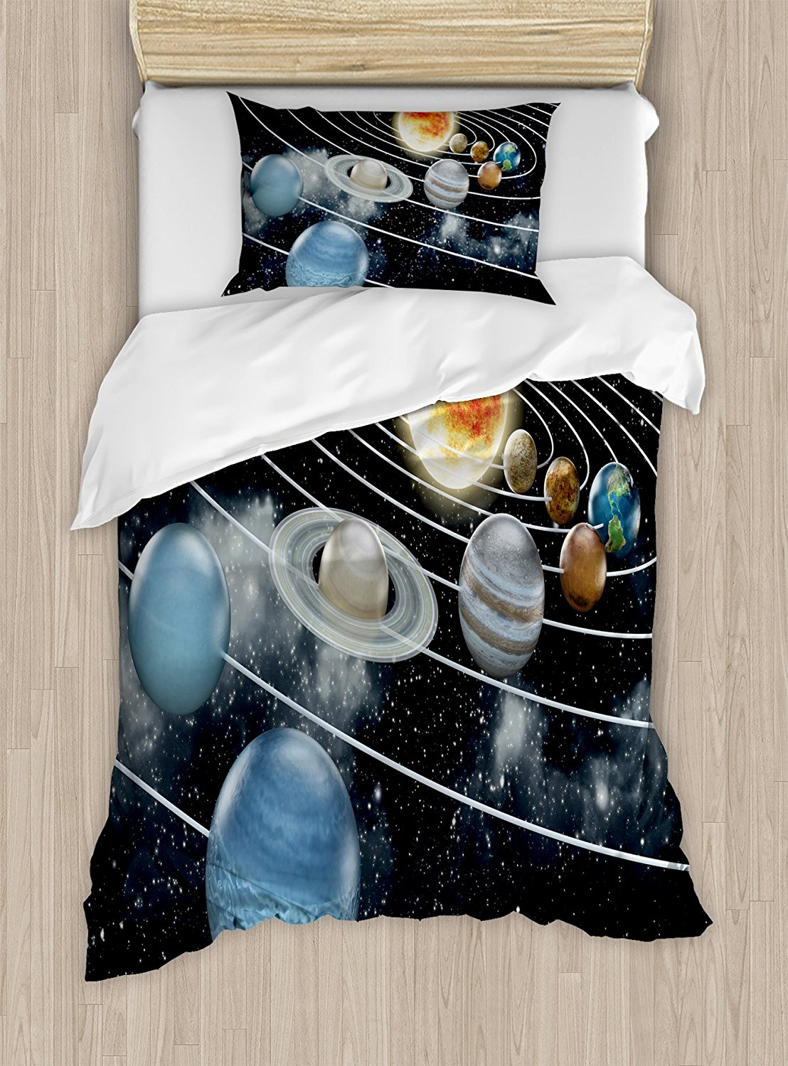 Galaxy Duvet Cover Set Solar System All Eight Planets and the Sun Pluto Jupiter Mars Venus Science Fiction Bedding Set Black