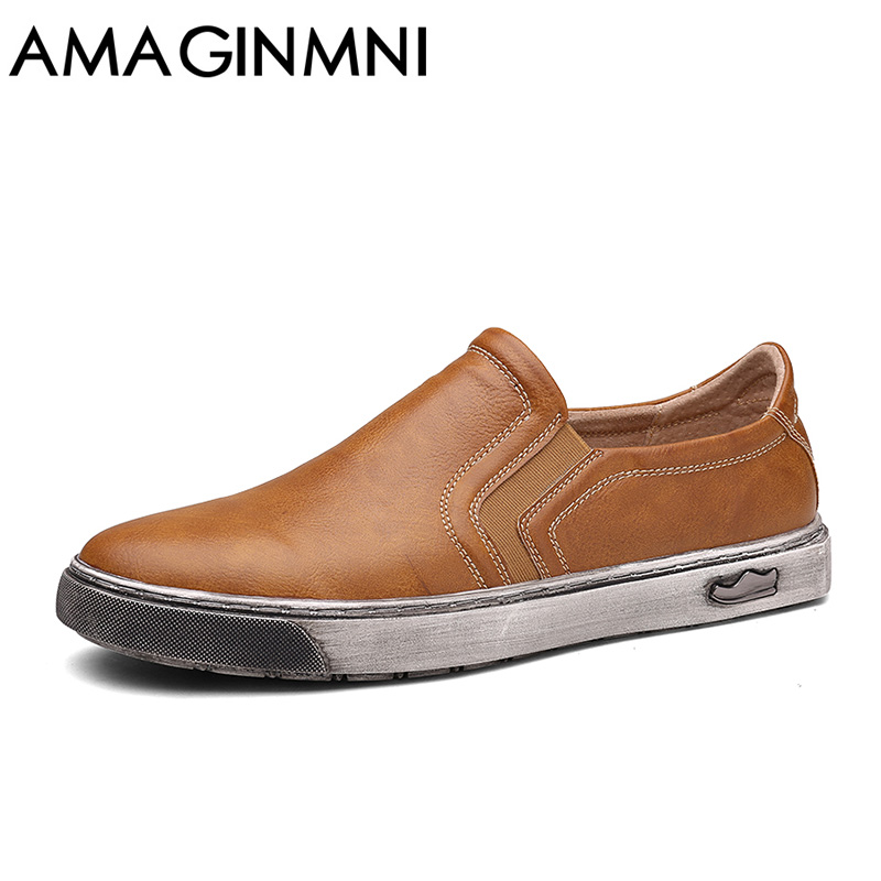 AMAGINMNI Men loafers Real Leather Men Soft Leather Shoes Slip On Men Loafers Genuine Leather Luxury Brand Men Lok fu Shoes