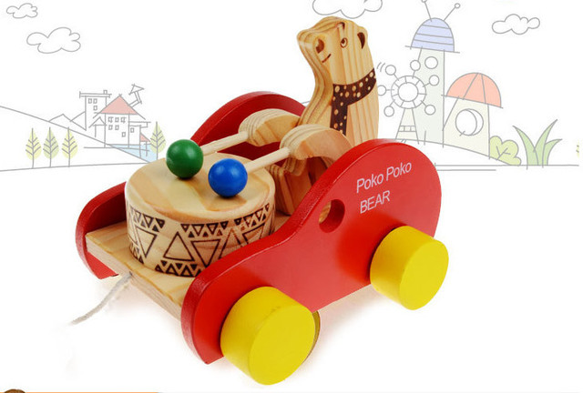 Push Toys For Toddlers : Wooden animal poko poko bear push and pull toys for toddlers baby