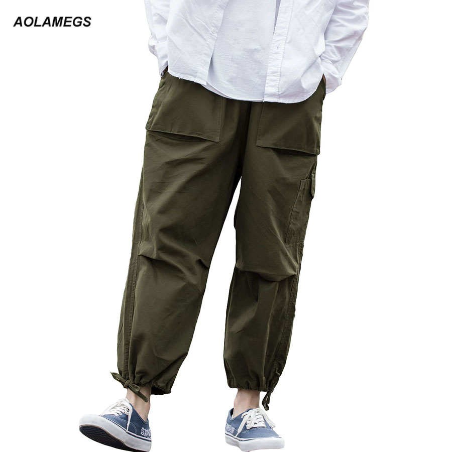 Aolamegs Men Casual Pants Loose Style Cargo Trousers Sweatpants Harajuku Street Fashion  ...