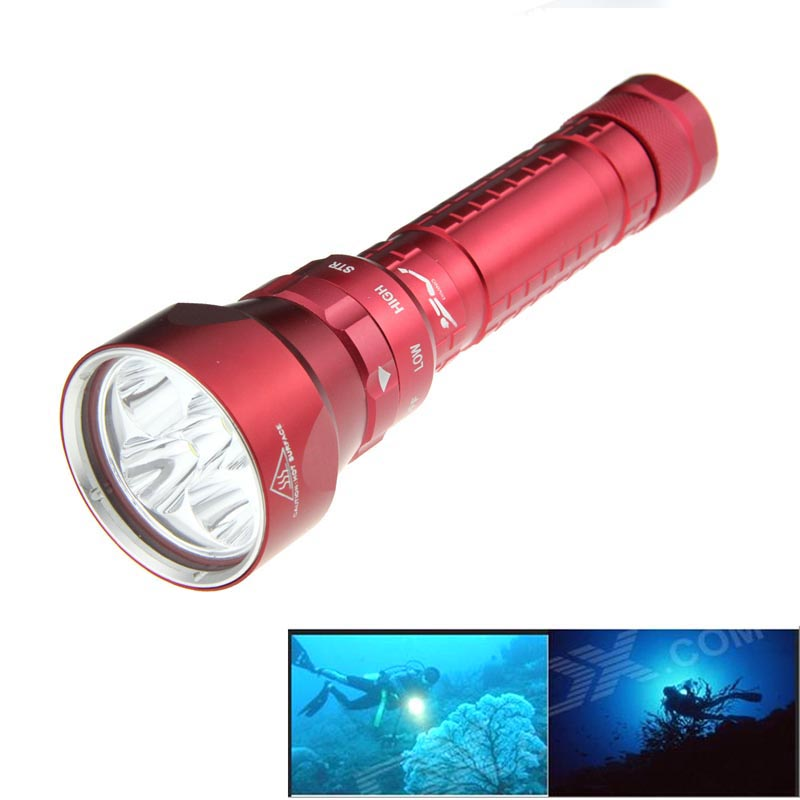 Ultrafire Dive Light Flashlight XM-LT6 7800LM 3-Mode LED Torch Luz Lantern Hunting LED Cavity Tactical Switch 18650 Flashlight ultrafire m3 t60 3 mode 910 lumen white led flashlight with strap black 1 x 18650