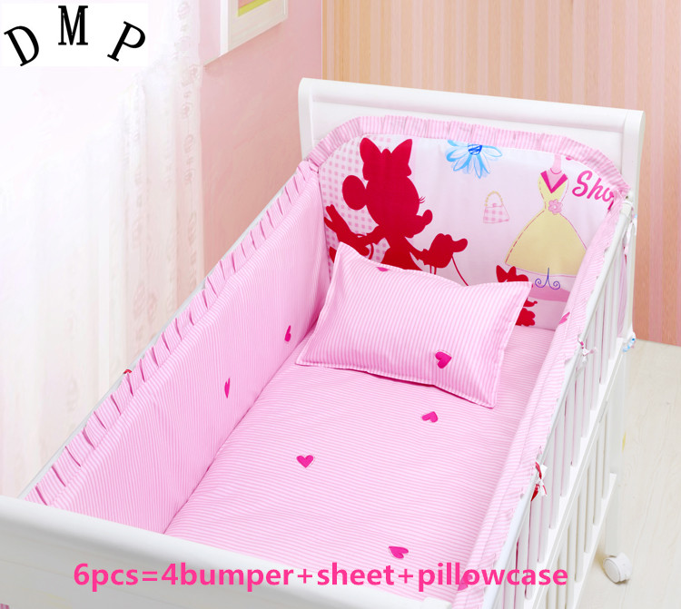 Promotion! 6PCS Cartoon Baby Bedding Set Crib Netting Bumpers Newborn Baby Products (bumper+sheet+pillow cover)