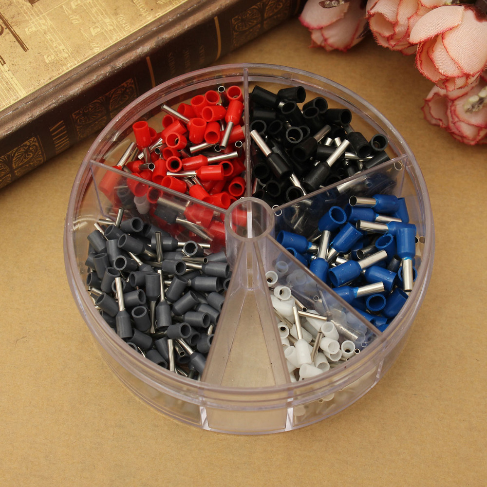 New Arrivals 400pcs Copper Crimp Connector Insulated Cord Pin End Terminal Block Ferrules Kit Set Wire China 190pcs lot 6 different crimp terminal ring connector kit set wire copper crimp connector insulated cord pin end terminal