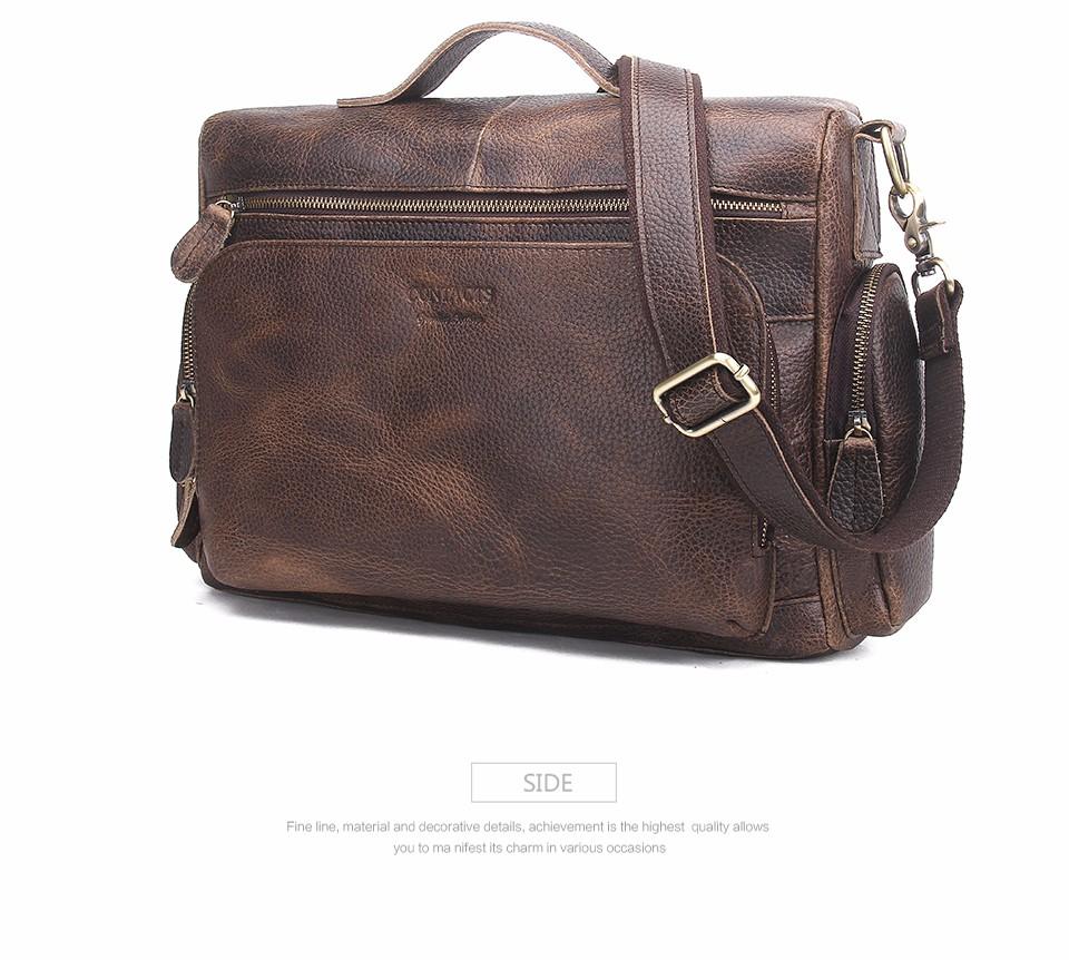 8f777ce73 Details about Genuine Leather Man Bag Vintage Big Totes Handbags Men Messenger  Bags