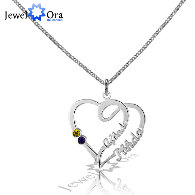 Double Heart DIY Birthstone Necklace Personalized 925 Sterling Silver Heart Shape Name Necklace Lovers Gift (JewelOra NE101589)