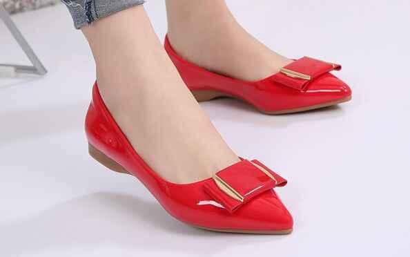 Big Size 31-43 Trend vrouwen flats luchtgeveerde binnenzool wees teen schoenen, rood/Zwart/Beige lakleer boog Loafers kantoor schoenen