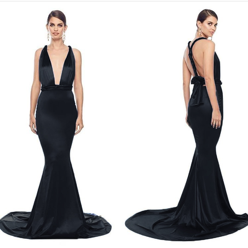 Floor Length Black Mermaid Dresses Gold Elegant Evening Party Dress Backless Stretchy Satin Dress Bodycon Sleeveless