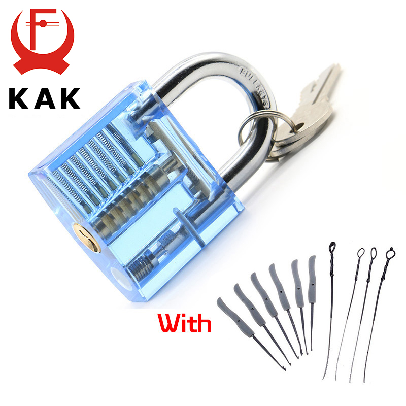 KAK Blue Transparent Visible Pick Cutaway Practice Padlock Lock With Broken Key Removing Hooks Lock Extractor Set Locksmith Tool