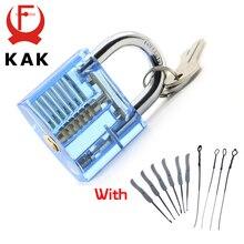 KAK Blue Transparent Visible Pick Cutaway Practice Padlock Lock With Broken Key Removing Hooks Lock Extractor Set Locksmith Tool