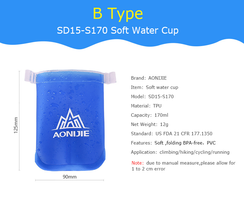 Foto of b type water's flask folding TPU for sport. Collapsible flask of water 500ml for hiking