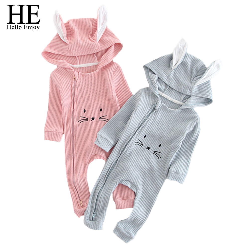 HE Hello Enjoy Newborn Baby Clothes Spring Infant Cartoon Baby Rompers Rabbit Ear Hooded Pajamas Jumpsuits Toddler Girl Clothing he hello enjoy baby rompers long sleeve cotton baby infant autumn animal newborn baby clothes romper hat pants 3pcs clothing set