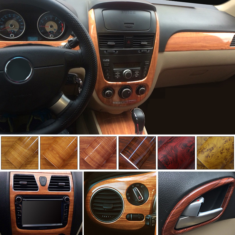 High Glossy Wood Grain Vinyl Sticker Car Home Decal Wrap Roll Film self adhesive Internal Decoration Waterproof 30cmX300cm